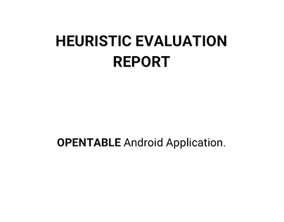 Heuristic Evaluation Report of OpenTable