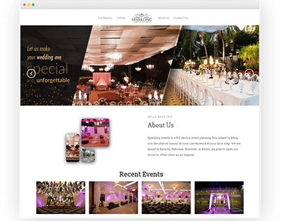 The Sparkling Events | Intelvue WordPress Project