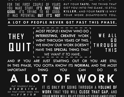 Ira Glass quote typography challenge.