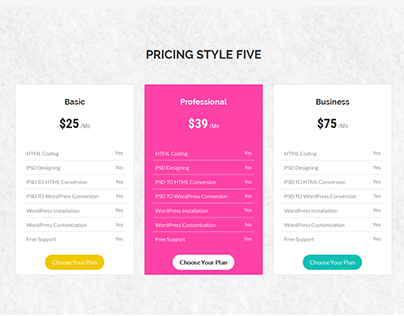 List Of Pricing Tables.