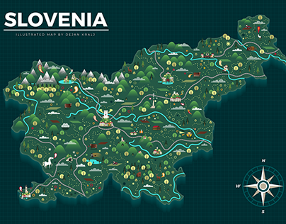 Illustrated map of Slovenia