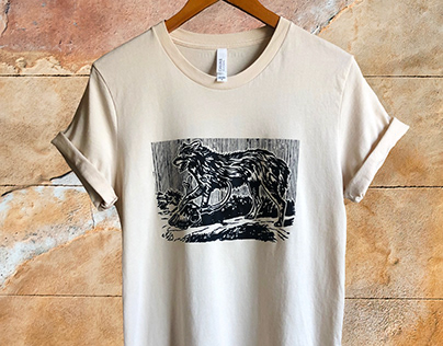 Woodblock Coyote Tee and Tote