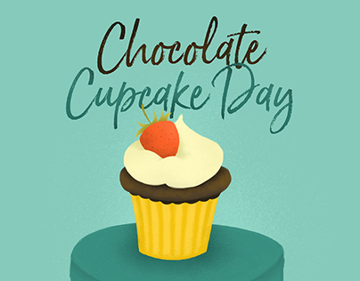 Chocolate Cupcake Day - PSD Painted Illustration