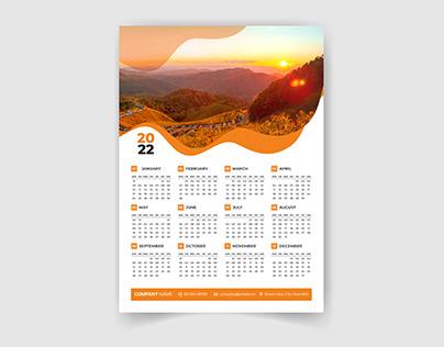 2022 One page creative wall calendar design template