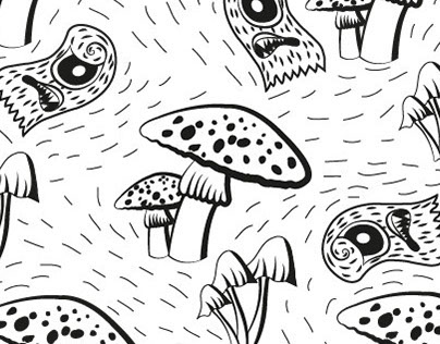 mushrooms and monsters illustration