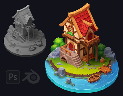 Cartoon isometric composition with house