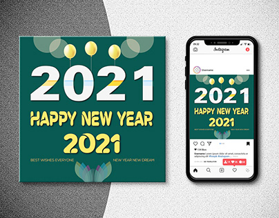 Happy new year 2021 Instagram post-greeting card