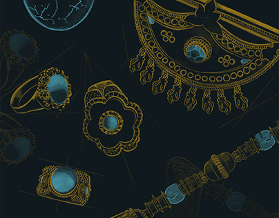 Jewelry illustration for museum