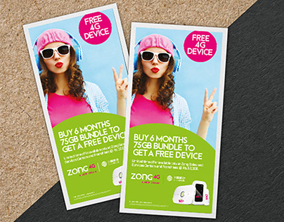 Flyer Design | Free 4G Device | Zong 4G A New Dream