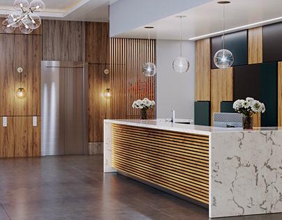 Hotel Lobby 3D visualization