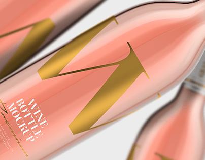 Rose Wine - Bottle Mockup