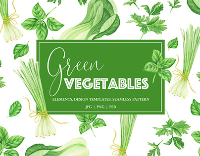 Watercolor green vegetables