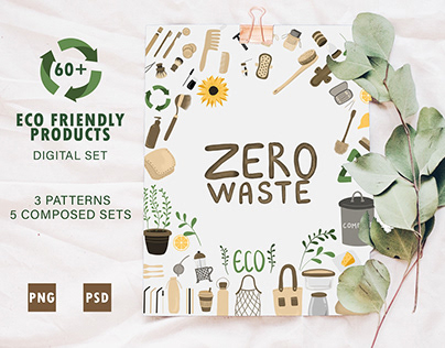 Zero waste kit of 60 illustrations of eco products