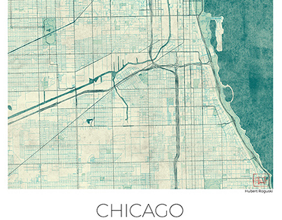 Chicago Map Blue Vintage, US