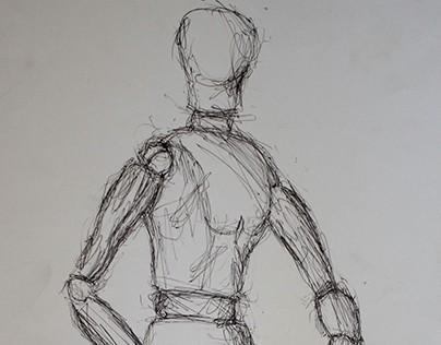 Left handed pen drawing
