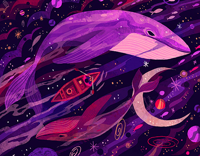 Intergalactic Whales - Illustration for Affinity