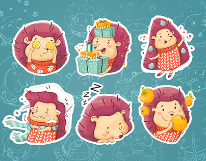 Christmas Sticker pack for the social network Hedgehog