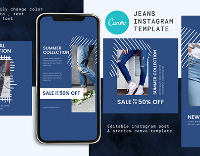 Jeans Canva Instagram Post and Stories Template