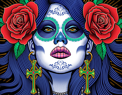 "Flow N Roll ""Sugar Skulls"" rash guard illustration"