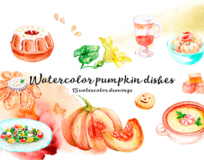Watercolor pumpkin dishes