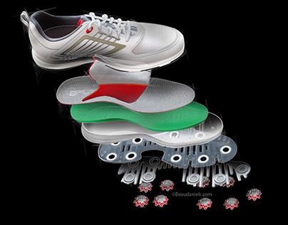 Golf shoe, breakout style illustration