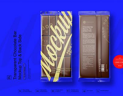 Transparent Chocolate Bar Mockup Top & Back Side View