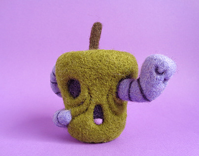 Rotten Apple and Worm, Hallowen Art Toy