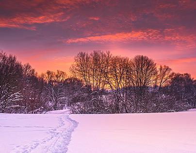 Before dusk in snowy fields