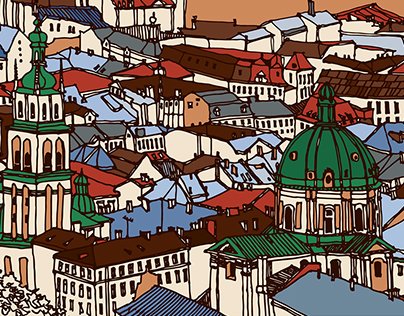 Hand drawn postcards with architecture.