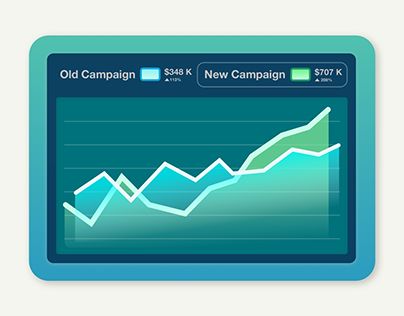 Campaign Graphs, A B Testing Dashboard Illustration