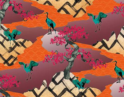 Japanese birds print