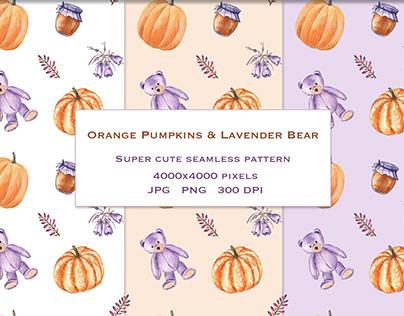 Pumpkins and Bears pattern. Watercolor illustration.