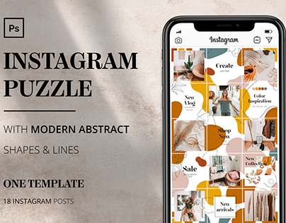 INSTAGRAM PUZZLE with MODERN ABSTRACT SHAPES and LINES
