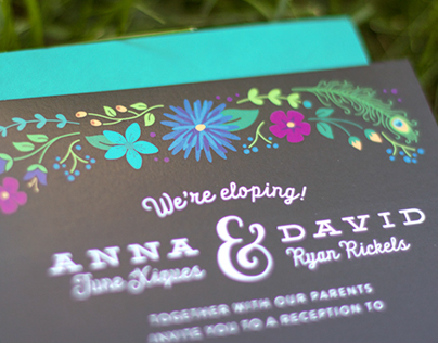 Peacock Elopement Wedding Invitations