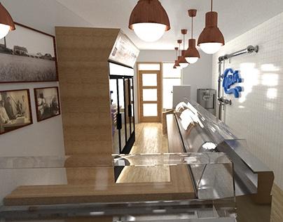 Mlékáč Sales Unit interior design for production