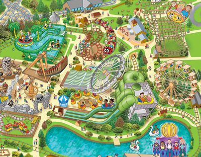Lightwater Valley theme park map illustration