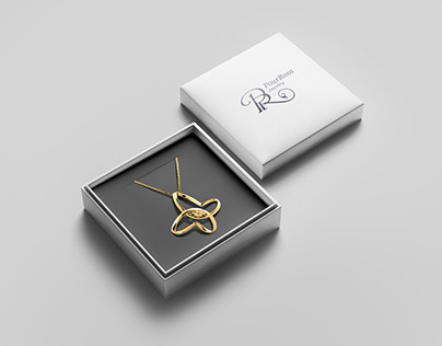 PourReza logo. A monogram with P+R for a jewelry.