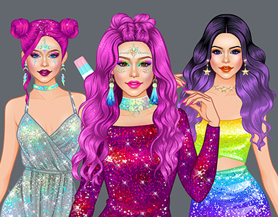 Character development for games fashion illustrations,