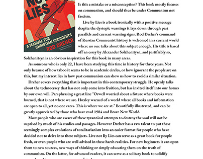 Live not By Lies Review by Giovanni Fiordaliso