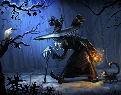 Witch creeping with her crows and cat
