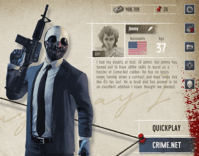 PAYDAY2 Concept Design UI/UX - Mobile