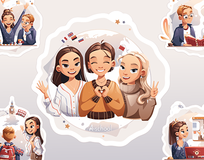 Illustrations series for foreign language school