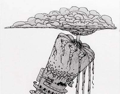Icecream cone city volcano surreal fantasy concept art