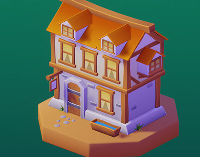 Stylized low poly tavern and lumber mill