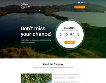 Travel Guide - landing page concept for a Travel Agency