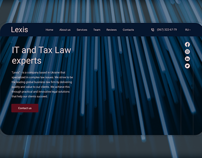 Landing page for law company