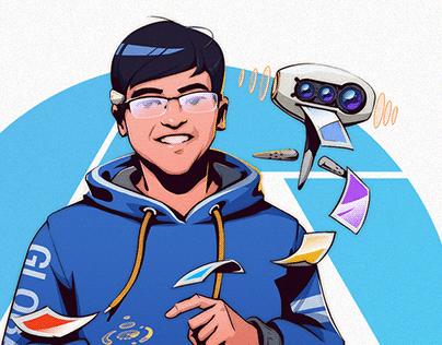 Tech-Hack theme portrait illustration series