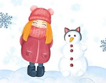 Children's illustrations: Winter little story