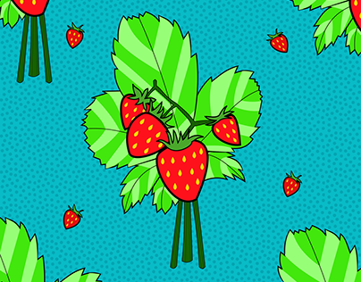 Strawberry Illustrated Surface Design