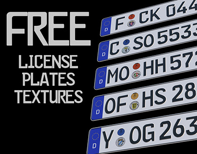 License plates FREE textures + example scene